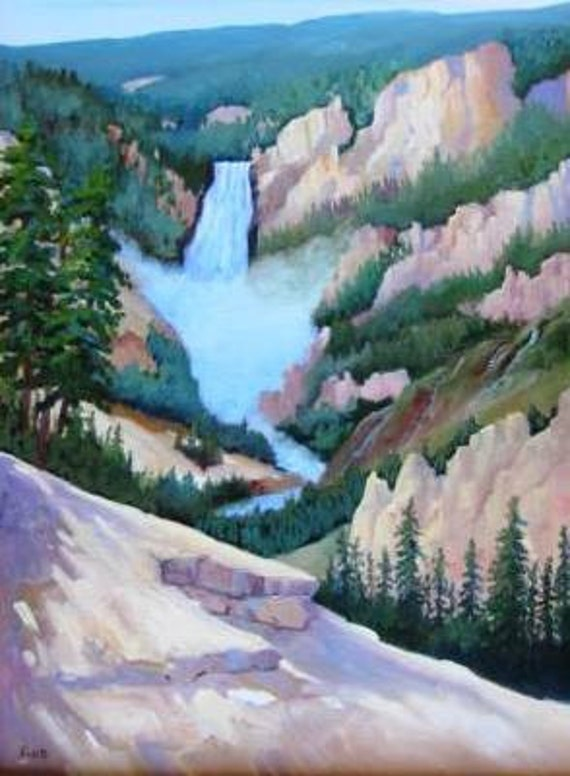 Great Falls Grand Canyon Artist Yvonne Sailers, Oils Picture 20 x 16 Frame 26 1/2 x 22