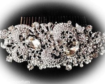 Beautiful vintage deco statement rhinestone bridal hair comb
