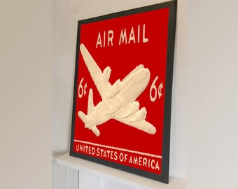 Red Air Mail Stamp United States Of America  - Vintage Reproduction Wall Art Decro Decor Poster Print Any size