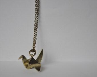 Paper Crane Origami Gold Colour Retro Pendant Necklace