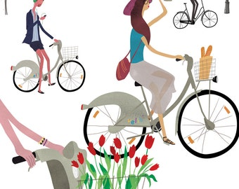 Bicycles, Velib'. Limited edition print.