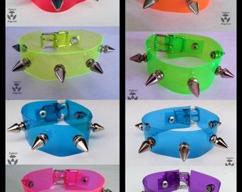 UV-Reactive Vinyl Cuff Bracelets - SPIKES