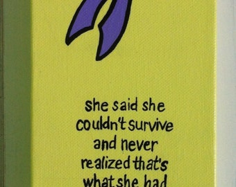 Purple Ribbon,Domestic Violence, Butterfly, Awareness, Survivor, Canvas, painting, wall art, acrylic