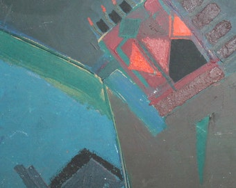 European art oil painting abstract cubism constructivism signed
