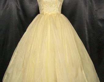 Fantastic Vintage Yellow 50's Chiffon & Tulle Prom Dress Gown 32