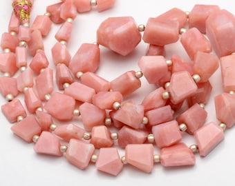 Natural Gemstone Peruvian Pink Opal Faceted Irregular Shape Nuggets 15 Inch Full Strand