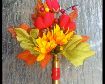 Fall Colors Leaf and Flowers Bullet Casing Boutonniere