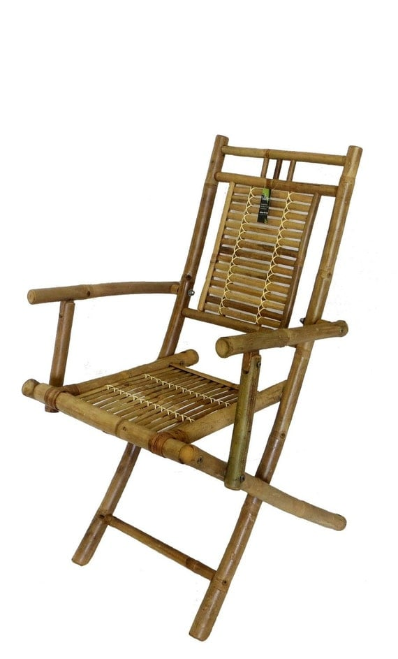 Bamboo Folding Arm Chair Set of Two Pieces 22w x
