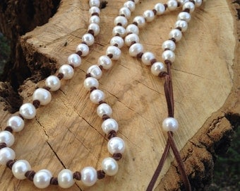Extra Long Freshwater Pearl Leather Knotted Necklace