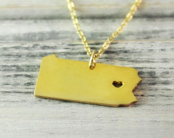 I  heart  Pennsylvania Necklace Pennsylvania  pendant 18K gold plated state necklace state pendant map pendant hammered state necklace
