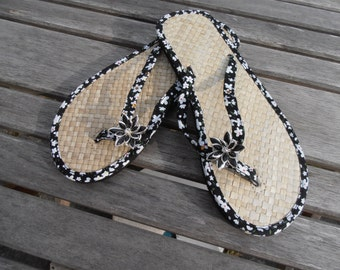 Hand Decorated Straw Flip Flops ideal to match a special outfit or for a wedding