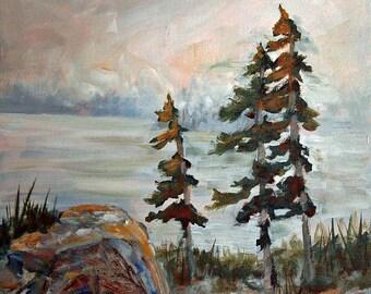 324,Acrylic landscape painting, original landscape painting, landscape art print,limited edition print, home decor, office art, signed print