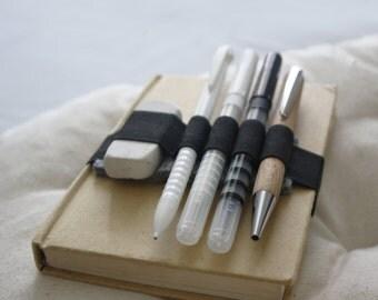Elastic and Felter Pen holder band, handmade pencil case pen holder - Moleskine, Cahier or Agenda dim. A6