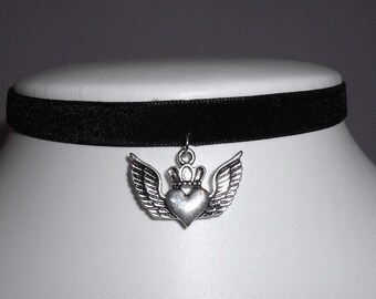 Black Heart Choker Emo Velvet Gothic Collar Necklace Wings Crown valentine