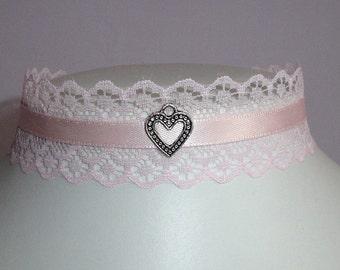 Pink heart choker lolita necklace collar lace kawaii pastel goth baby pink