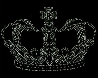 Queen Crown Silver Rhinestone Iron on Hotfix Application