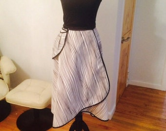 Wrap skirt from 100% Carolina Herrera silk with stripe from Lorami fashion