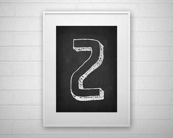 Typography Art Print - Z - Chalkboard - Letter poster - Printable - Wall Art