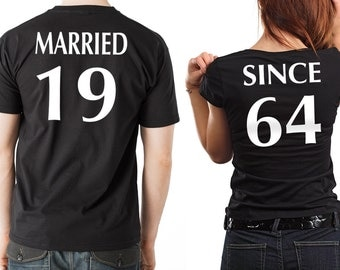 Anniversary T-shirts Couple Tees MARRIED SINCE Anniversary gift for couple CUSTOMIZABLE Year