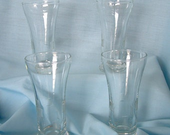 Vintage Libbey Juice Glasses With Etched Design And Flared Top Set Of 4