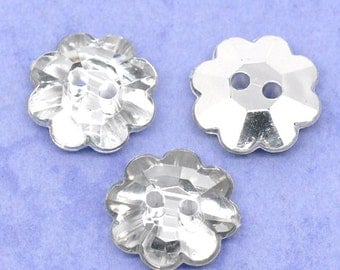200 Silver Plated Back Flower Acrylic Buttons 13mm Clothes Accessories