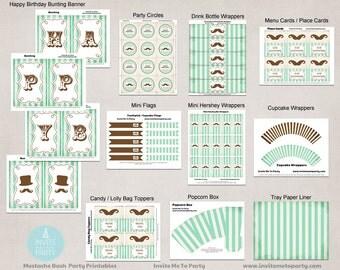 Mustache Bash Party Decoration Printables / Little Man Party
