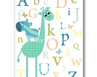 Giraffe Nursery Alphabet Nursery Print Digital file Baby Boy Nursery Art Children Art Baby Boy Room Decor 8x10 11X14 INSTANT DOWNLOAD Blue