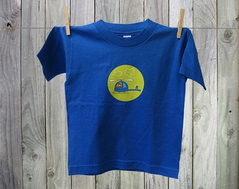 Fun and Funky Helicopter Tshirt for Kids. Perfect for Boys!