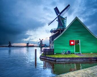 Windmills at Zaanse Schanse, The Netherlands - Fine Art Photograph (Matted)