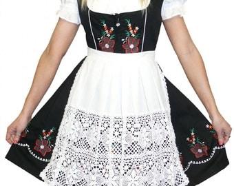 3-Piece Short Black German  Dirndl Dress 8 10 12 14 16 18 20 22 24 XS M L XL 2XL
