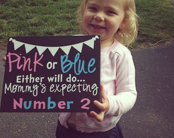 New Baby Sibling  Pregnancy Announcement Sign
