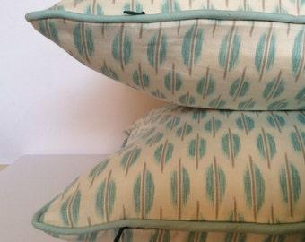 Aqua Marine Pillow, Piped Pillow,Lattice print Pillow,Decorative Pillow, Toss Pillow, Accent Pillow,