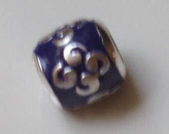 925 Sterling Silver Zen Enamel Purple Charm for European Bracelet