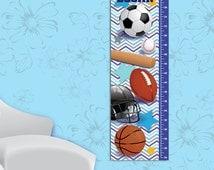 All Star Boy's Canvas Growth Chart ~ Sports Themed Growth Chart ~ Kid's Room Wall Art