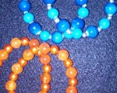 Orange and Cobalt Blue Glass Beaded Bracelets
