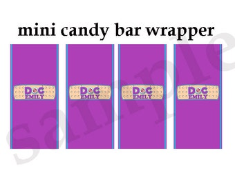Doc McStuffin Mini Candy wrapper, Doc McStuffin Birthday Party Mini Candy Wrappers, Doc McStuffin Mini Chocolate wrapper, DIY, Printable 001