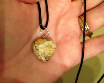 SALE!! New! Genuine Jasper Gemstone Pendant and Black Cord Necklace!