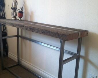 Reclaimed wood media table.  Industrial Sofa table. Industrial  Console table.  Entry table.  Reclaimed wood table. Industrial table.