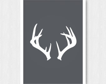 Grey Antler Print, Antler Print, Antler Wall Decor, Dark Gray, White Antlers, Antler Silhouette, Printable, Digital Poster Print, Download