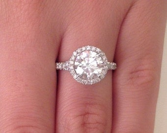 2.62 CT Round Cut d/si1 Diamond Solitaire Engagement Ring 14k White Gold