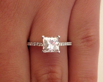 1.52 CT Princess Cut d/si1 Diamond Solitaire Engagement Ring 14k White Gold