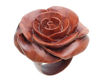 "Hand Carved Rose Wood Ring - 3/4"" Flower"