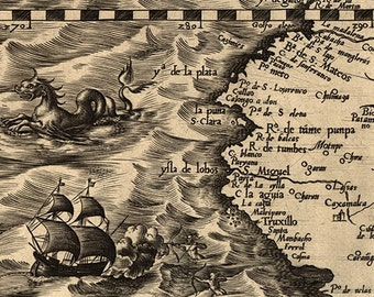 """The New World 20x24"""" Historic 1562 Archival Reproduction Wall Art Exploration Map"""