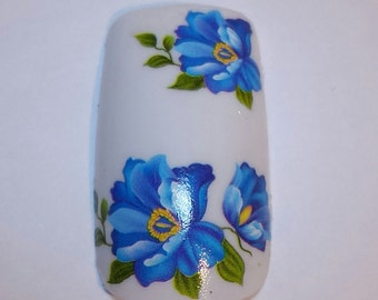 Nail Art Water Transfer Blue Green Flower Decal 373 C018 Sticker Wrap