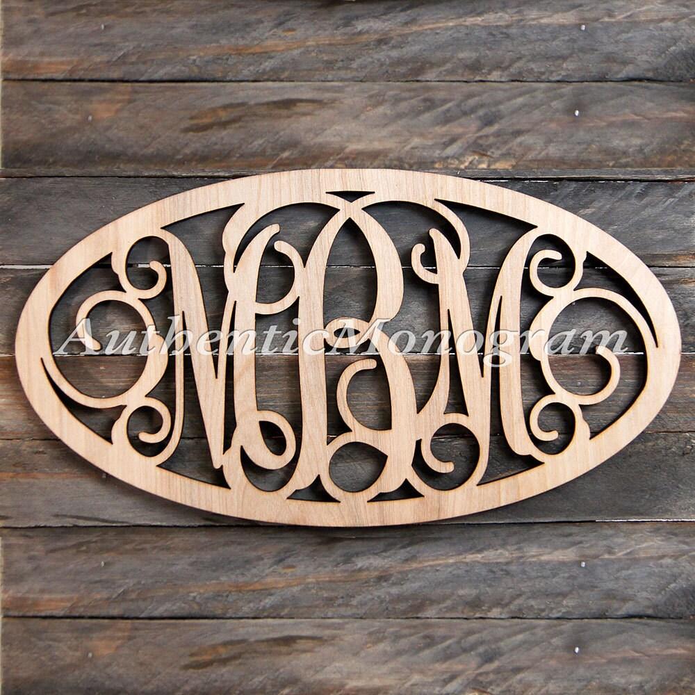 Wooden monogram oval framed unpainted vine script for Monogram homes