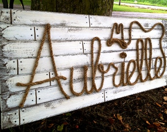 """AUBRIELLE: 42"""" Country Western Rope Name Sign Shabby Chic  - Distressed White Washed"""