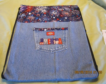Recycled Blue Jean Cinch Sack Backpack: Item #49