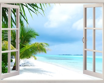 Island Beach Wall Decal 3D Window, Tropical Beach Palm Tree Wall Sticker  Decor, Coast