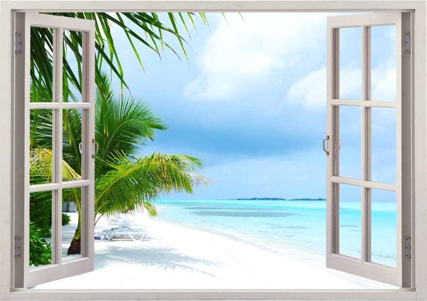 Island Beach Wall Decal 3d Window Tropical Beach Palm Tree