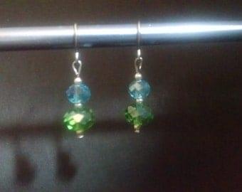 Teal and Green Crystal Dangle Earrings